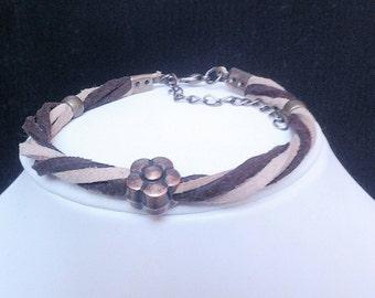 WOMAN bracelet, suede, suede bracelet, boho, flower bracelet, bracelet land