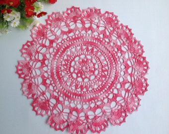 Pink Crochet Napkin Crochet Doily Handcrafted Home Decor Lace doily
