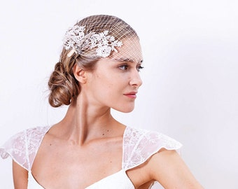 Bridal wedding lace veil, Bride Birdcage veil, Ivory hair accessories