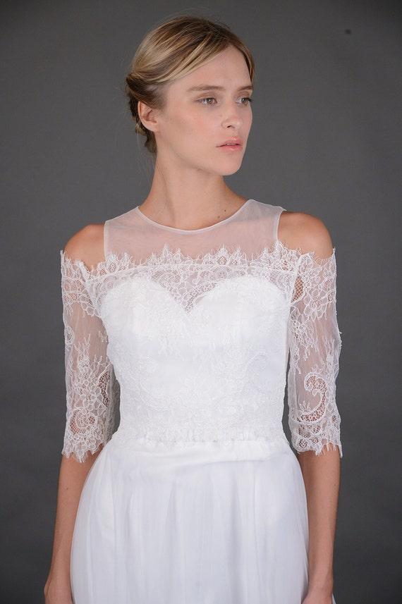 Bridal Wedding Dress Off Shoulder French Eyelash Lace Wrap