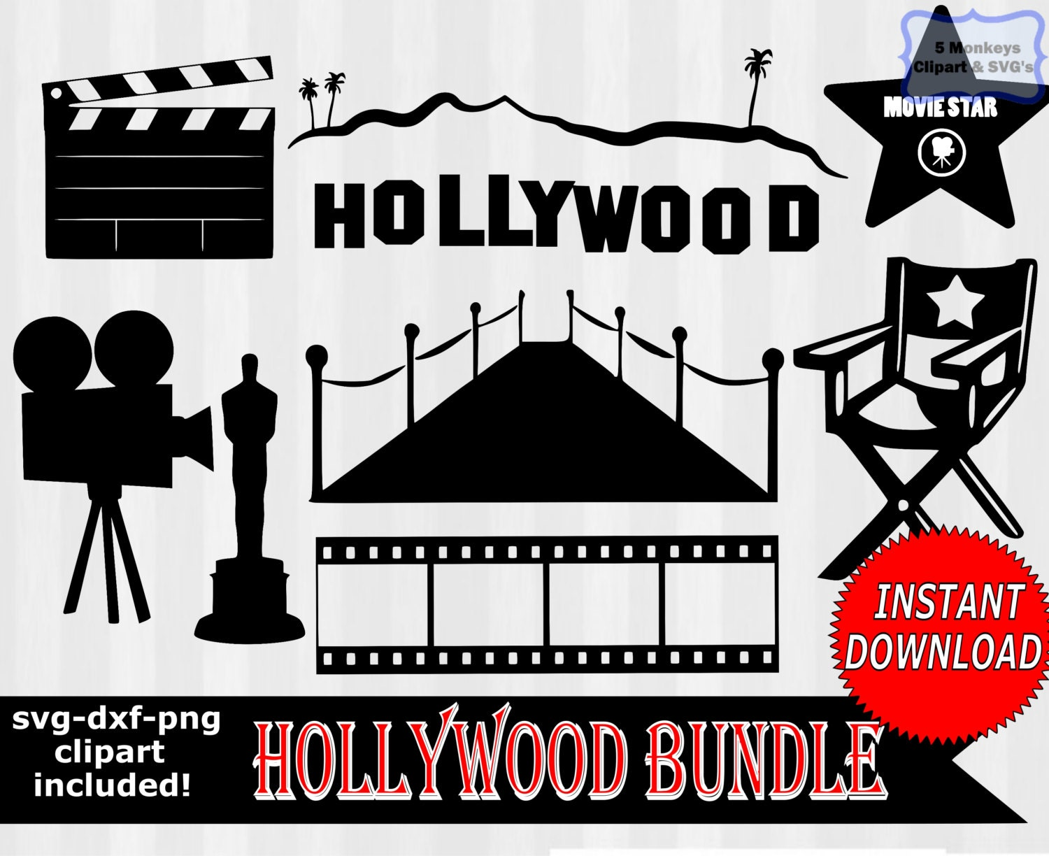 Hollywood svg movie star svg Hollywood Clipart by 5StarClipart