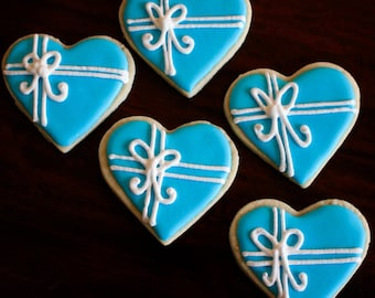 Tiffany Blue Heart Present Sugar Design Cookies - 1 Dozen!