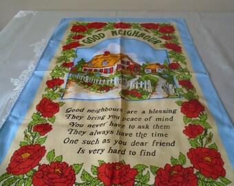 Good neighbour  vintage tea towel