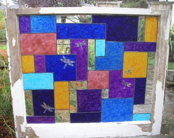 Stained Glass Window, faux stained glass paint on old wood window