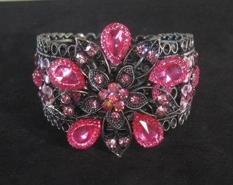 "Vintage Designer Costume Pink Jewel Cuff Bracelet 7"""