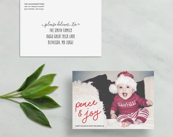 peace and joy holiday card // custom holiday photo card // simple modern christmas card // hand lettering red stripe // PRINTED holiday card