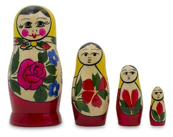 4'' Set of 4 Semyonov Traditional Matryoshka Wooden Russian Nesting Dolls- SKU # nds04000p