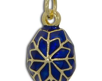 "Blue Enamel Snowflake Egg Pendant Necklace 19""- SKU # P-2-necklace"