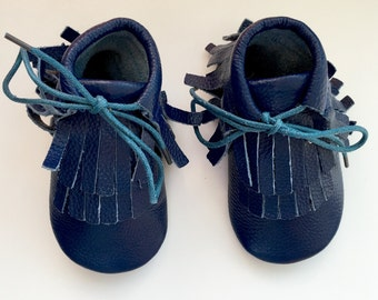 Size 2 Leather Boot Moccasins, Blue Moccs, Boot Moccasins, Baby Moccasins, Fringe Moccasins, Blue, Toddler Moccasins, Handmade Moccasins