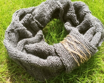 Infinity scarf, cowl, grey colour, elegant handmade knitted, mother's day gift idea