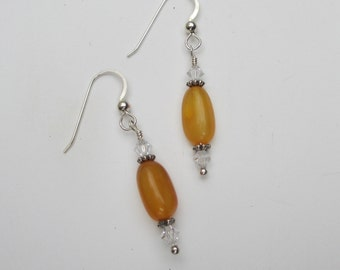 Honey amber earrings with clear Swarovski crystals sterling silver spacer beads and sterling silver ear wires