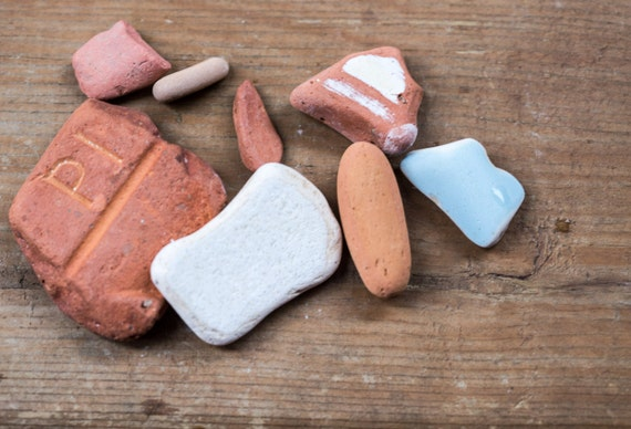 Ceramic Stones Made : Collection of beach pottery ceramic tumbled stones just