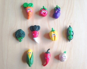 Magnets fimo vegetables, polymer clay, kitchen magnets, refrigerator