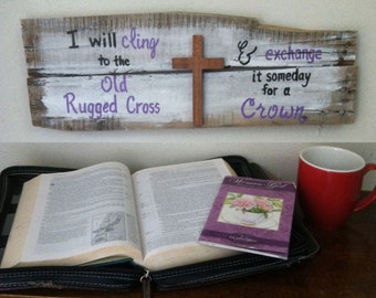 Old Rugged Cross - Christian Wall Art - Scripture Signs - Cross - The Old Rugged Cross Sign - Pastor Gift - Father's Day Gift