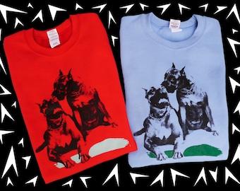 CREWNECK SWEATSHIRTS - Cry Tuff- Screenprinted Dogs