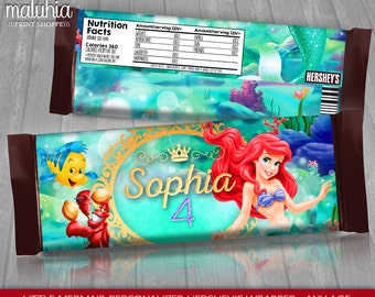 Little Mermaid Hershey Candy Bar Wrappers - PERSONALIZED - Disney Little Mermaid Hershey's Chocolate Party Printable - Under the sea