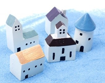 Miniature White Houses, Tiny Geek House, Terrarium Village Hut, Church for Fairy Garden,Greece Santorini, Mykonos Building Decor Supplies