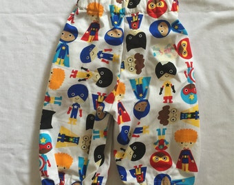 "Handmade Baby Boy Pants In ""Superhero"" Print 100% Cotton Sizes 3-6 & 12 Months"
