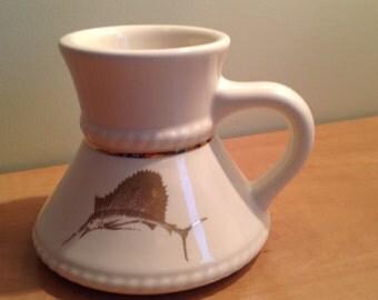 Cup with Golden swordfish, swordfish mug, gold, tillandsia air plant
