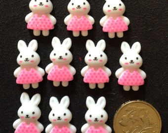 Resin Flatback Cute Bunny Rabbit 10pk
