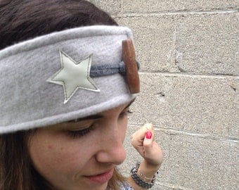 Gray recycled wool banner with star Collection Gaia - winter band - band hot - recycled banner - 50% off
