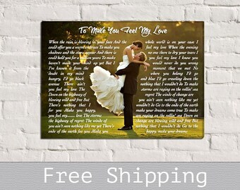 Song Lyrics Canvas - Song Lyric art - First Dance song - Custom Canvas Print - Wall Decor - Anniversary Gift - Free Shipping