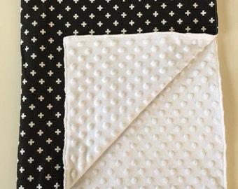 Black and White Swiss Cross Minky Blanket