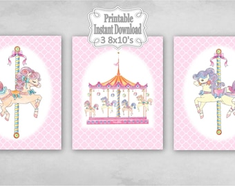 Printable Carousel Horses Merry Go Round Baby Nursery Wall Art Decor Pink Clover Child Kids ~ DIY Instant Download ~ 3 8x10 Prints