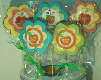 Thank you Teacher flowers - sugar cookies on sticks or apples with caterpillar