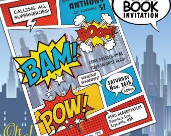 Comic Book Style Super Hero Theme Birthday Costume Party Invitation