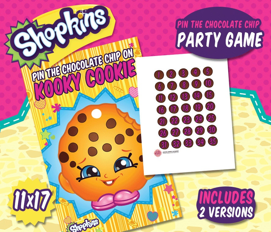 Shopkins Party Theme: Pin The Chocolate Chip On By OhWowDesign