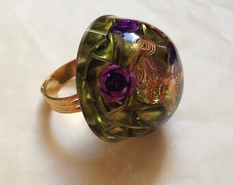 Green and Purple Orgone energy Ring