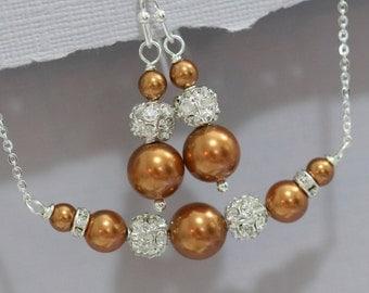 Swarovski Copper Pearl Bridesmaid Gift Jewelry Set Mother of the Bride Jewelry,  Mother of the Groom Jewelry