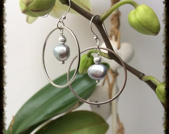 Silver hoop earrings with a freshwater grey pearl & sparkle bead