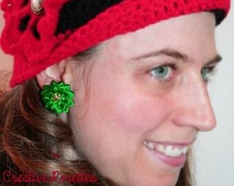 Green Star Rosette Earrings