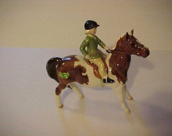 Rare Beswick No 1499 Girl on Pony Skewbald- Reduced Sale