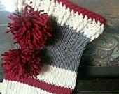 Sock Monkey Inspired Christmas Stocking, hand made stocking