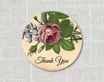 Thank You Wedding Stickers - Vintage Floral Wedding Stickers - Thank You Envelope Seals - Floral Save the Date Stickers