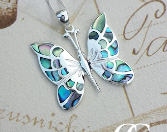 Large Sterling Silver Butterfly Necklace