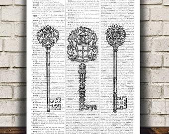 Skeleton key art Retro print Antique print Vintage poster RTA555