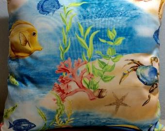 Beach Pillow Cover-Indoor Pillow-Beach Pillow-Tropical Pillow-Coastal Pillow-Lake Pillow-Nautical Pillow-Blue Pillow
