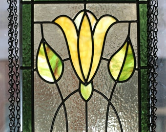 Yellow Flower Stained Glass Panel