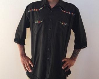 Black Fringe Mens Shirt Western Vintage