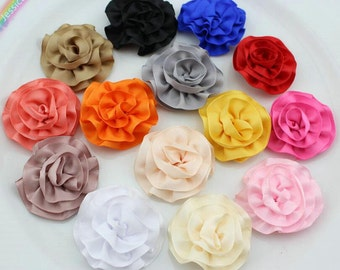 15pcs 45mm Assorted Colors Matt Ribbon Rolled Rosettes Handmade Satin Puff Rose Flowers Headband, Hair Bow, Brooch, Boutique Supplies FZ0312