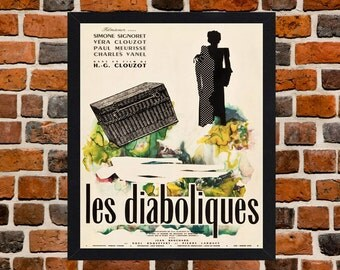 Framed Les Diaboliques French Movie / Film Poster A3 Size Mounted In Black Or White Frame