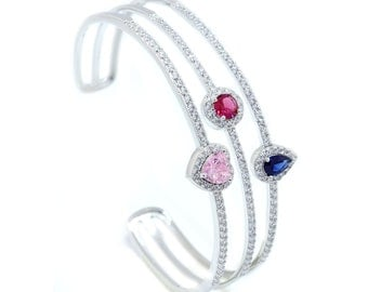 925 Sterling Silver Multi-stone Open Bangle  - 3.63 CT.TW (S184)