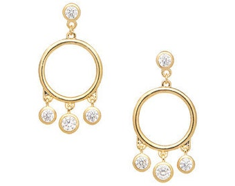 Cubic Zirconia & Goldtone Circle Drop Earrings