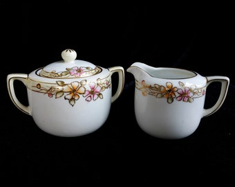 Nippon Hand Painted Creamer and Sugar bowl set / Vintage Nippon Creamer Set