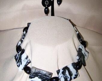 Zebra Jasper and Onyx Statement Necklace