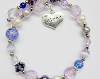 Purple bracelet,memory wire bracelet,purple niece bracelet